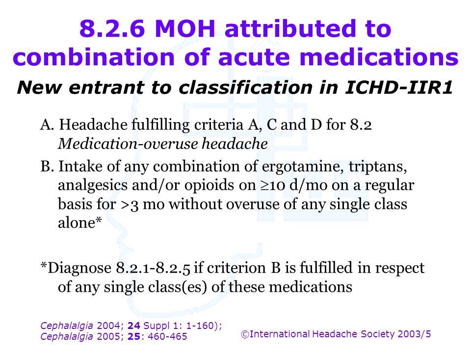 Cephalalgia 2004; 24 Suppl 1: 1-160); Cephalalgia 2005; 25: 460-465 ©International Headache Society 2003/5 8.2.6 MOH attributed to combination of acut