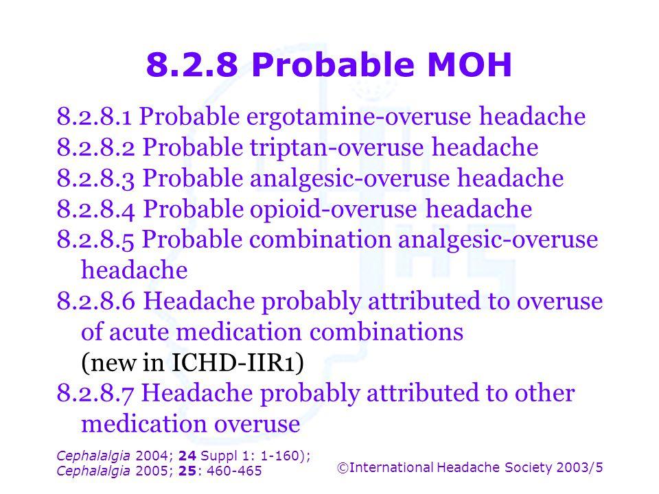 Cephalalgia 2004; 24 Suppl 1: 1-160); Cephalalgia 2005; 25: 460-465 ©International Headache Society 2003/5 8.2.8 Probable MOH 8.2.8.1 Probable ergotam
