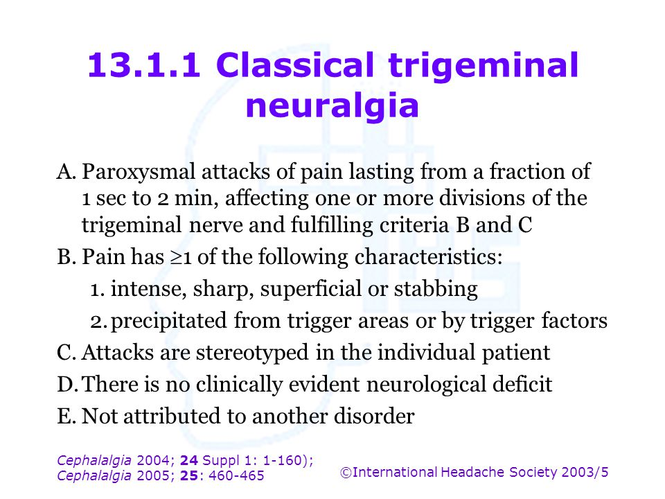 Cephalalgia 2004; 24 Suppl 1: 1-160); Cephalalgia 2005; 25: 460-465 ©International Headache Society 2003/5 13.1.1 Classical trigeminal neuralgia A.Par