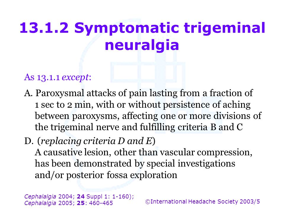Cephalalgia 2004; 24 Suppl 1: 1-160); Cephalalgia 2005; 25: 460-465 ©International Headache Society 2003/5 13.1.2 Symptomatic trigeminal neuralgia As