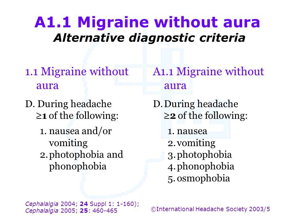 Cephalalgia 2004; 24 Suppl 1: 1-160); Cephalalgia 2005; 25: 460-465 ©International Headache Society 2003/5 A1.1 Migraine without aura Alternative diag