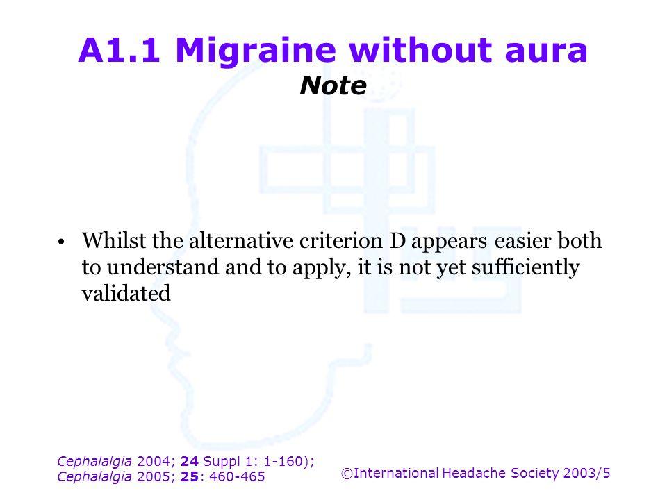 Cephalalgia 2004; 24 Suppl 1: 1-160); Cephalalgia 2005; 25: 460-465 ©International Headache Society 2003/5 A1.1 Migraine without aura Note Whilst the