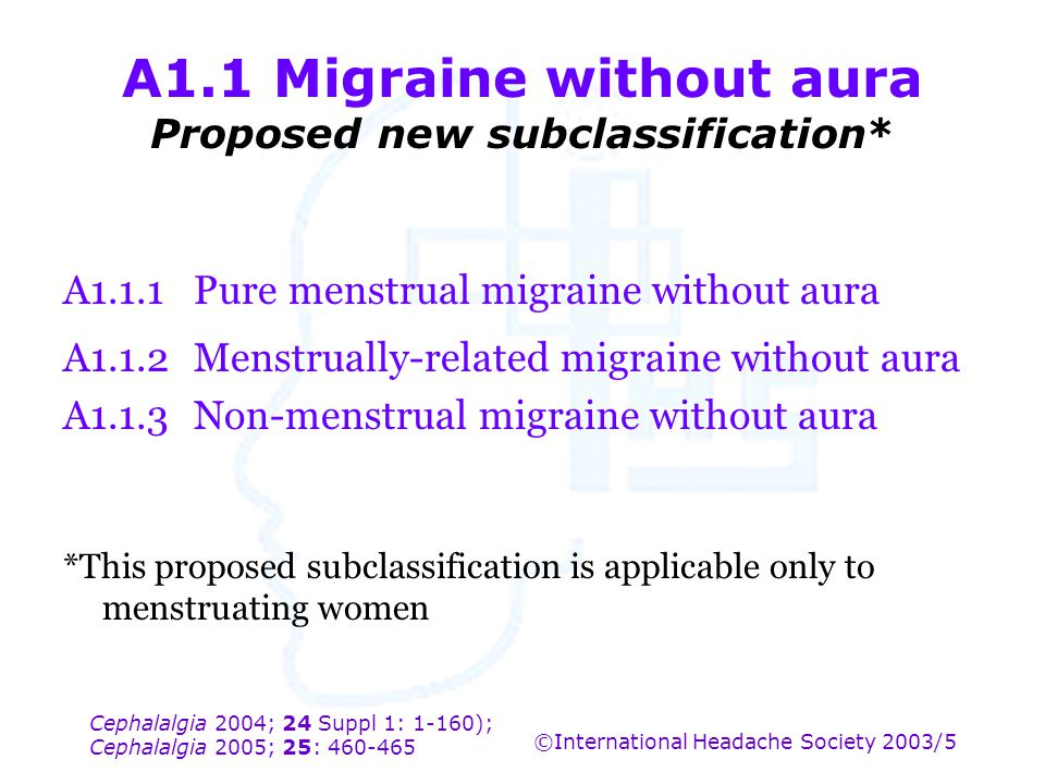 Cephalalgia 2004; 24 Suppl 1: 1-160); Cephalalgia 2005; 25: 460-465 ©International Headache Society 2003/5 A1.1 Migraine without aura Proposed new sub