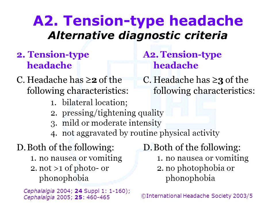 Cephalalgia 2004; 24 Suppl 1: 1-160); Cephalalgia 2005; 25: 460-465 ©International Headache Society 2003/5 A2. Tension-type headache Alternative diagn
