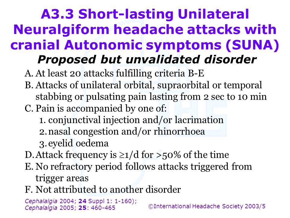 Cephalalgia 2004; 24 Suppl 1: 1-160); Cephalalgia 2005; 25: 460-465 ©International Headache Society 2003/5 A3.3 Short-lasting Unilateral Neuralgiform