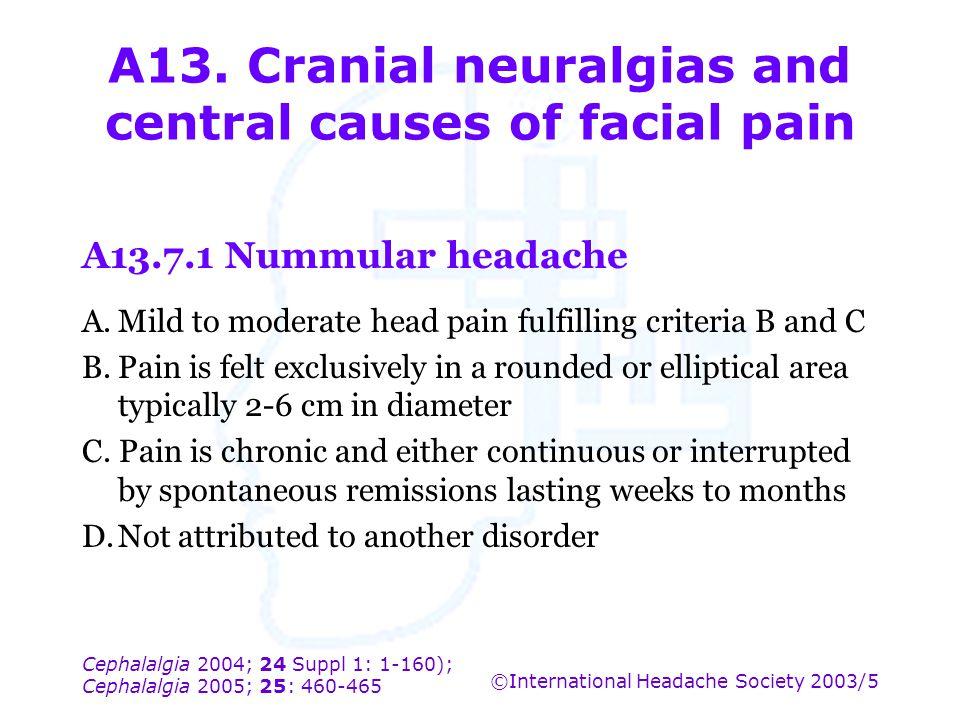 Cephalalgia 2004; 24 Suppl 1: 1-160); Cephalalgia 2005; 25: 460-465 ©International Headache Society 2003/5 A13. Cranial neuralgias and central causes
