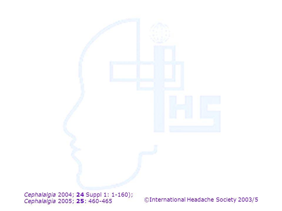 Cephalalgia 2004; 24 Suppl 1: 1-160); Cephalalgia 2005; 25: 460-465 ©International Headache Society 2003/5
