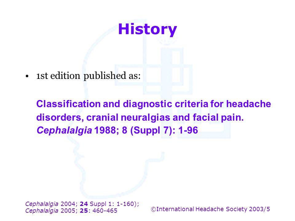 Cephalalgia 2004; 24 Suppl 1: 1-160); Cephalalgia 2005; 25: 460-465 ©International Headache Society 2003/5 History 1st edition published as: Classific