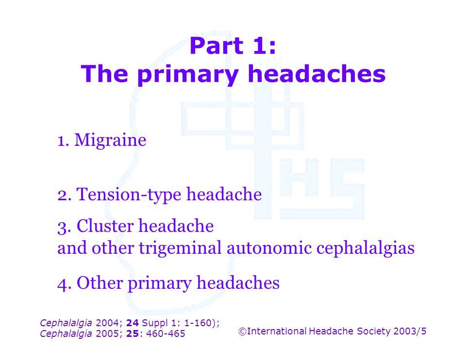 Cephalalgia 2004; 24 Suppl 1: 1-160); Cephalalgia 2005; 25: 460-465 ©International Headache Society 2003/5 Part 1: The primary headaches 1. Migraine 2