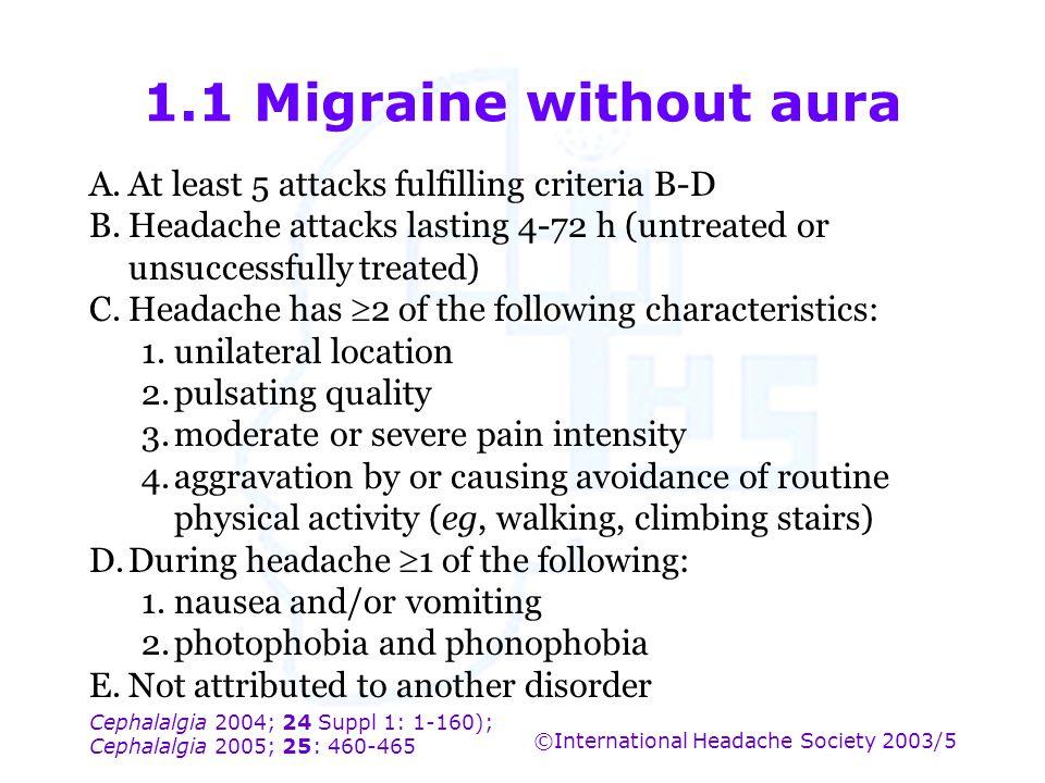 Cephalalgia 2004; 24 Suppl 1: 1-160); Cephalalgia 2005; 25: 460-465 ©International Headache Society 2003/5 1.1 Migraine without aura A.At least 5 atta