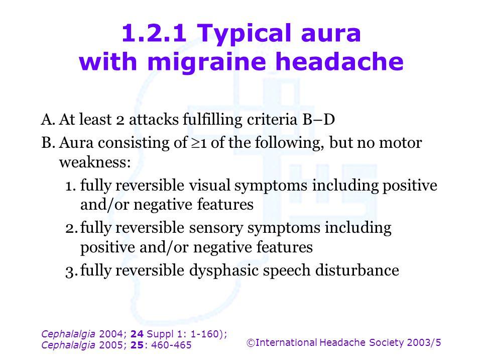 Cephalalgia 2004; 24 Suppl 1: 1-160); Cephalalgia 2005; 25: 460-465 ©International Headache Society 2003/5 1.2.1 Typical aura with migraine headache A