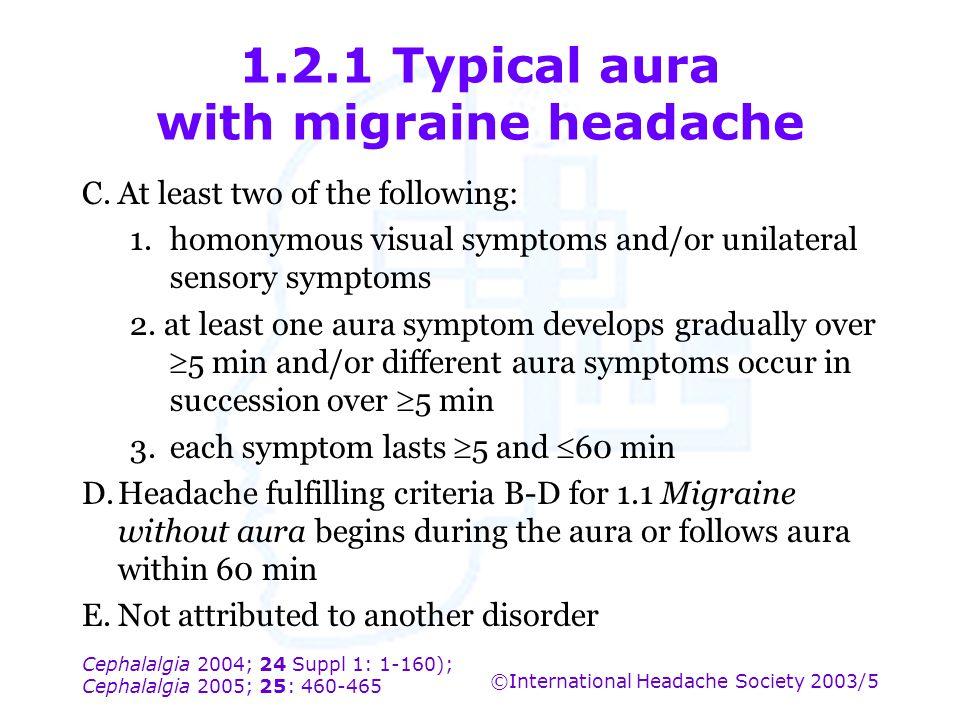 Cephalalgia 2004; 24 Suppl 1: 1-160); Cephalalgia 2005; 25: 460-465 ©International Headache Society 2003/5 1.2.1 Typical aura with migraine headache C