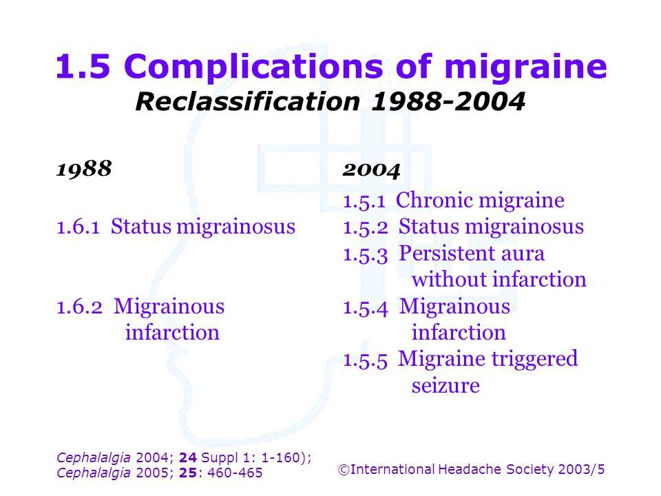 Cephalalgia 2004; 24 Suppl 1: 1-160); Cephalalgia 2005; 25: 460-465 ©International Headache Society 2003/5 1.5 Complications of migraine Reclassificat