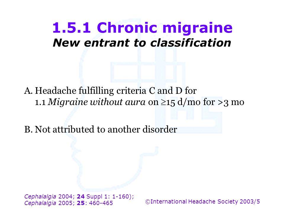 Cephalalgia 2004; 24 Suppl 1: 1-160); Cephalalgia 2005; 25: 460-465 ©International Headache Society 2003/5 1.5.1 Chronic migraine New entrant to class