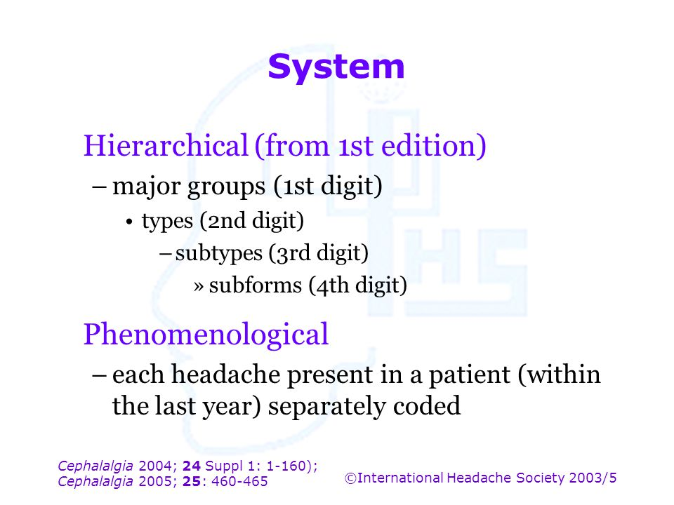 Cephalalgia 2004; 24 Suppl 1: 1-160); Cephalalgia 2005; 25: 460-465 ©International Headache Society 2003/5 System Hierarchical (from 1st edition) –maj