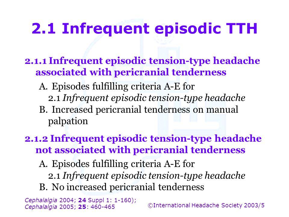 Cephalalgia 2004; 24 Suppl 1: 1-160); Cephalalgia 2005; 25: 460-465 ©International Headache Society 2003/5 2.1 Infrequent episodic TTH 2.1.1 Infrequen