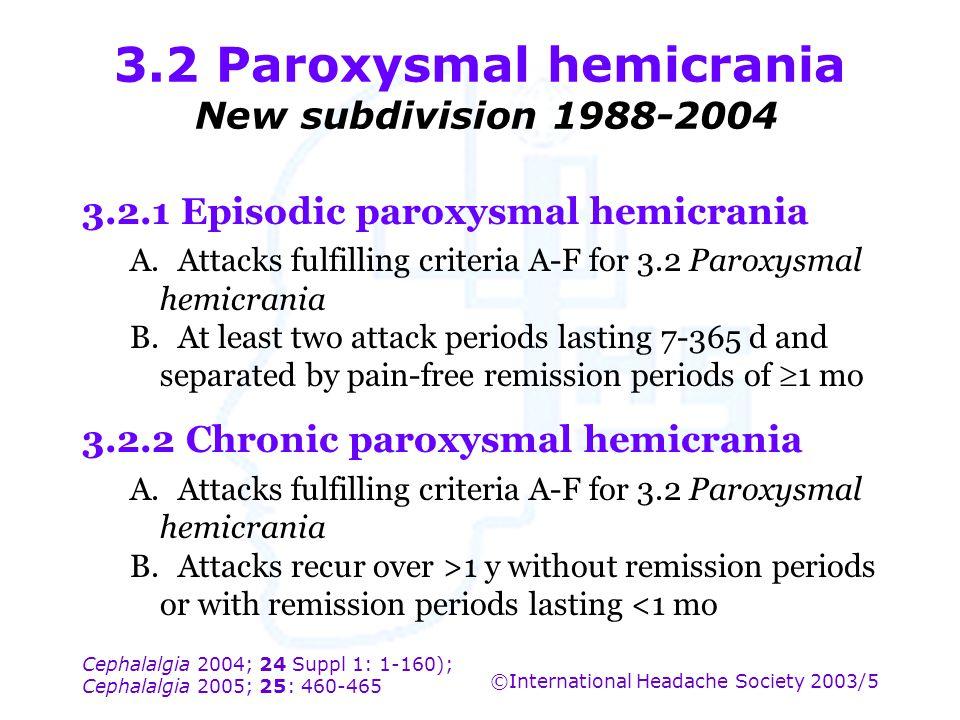 Cephalalgia 2004; 24 Suppl 1: 1-160); Cephalalgia 2005; 25: 460-465 ©International Headache Society 2003/5 3.2 Paroxysmal hemicrania New subdivision 1