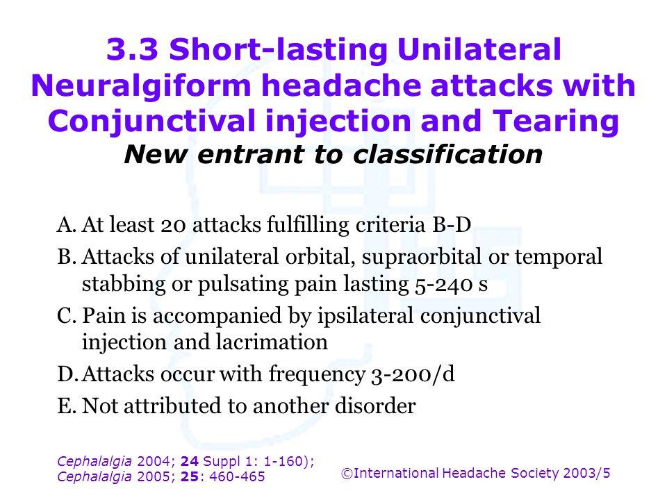 Cephalalgia 2004; 24 Suppl 1: 1-160); Cephalalgia 2005; 25: 460-465 ©International Headache Society 2003/5 3.3 Short-lasting Unilateral Neuralgiform h