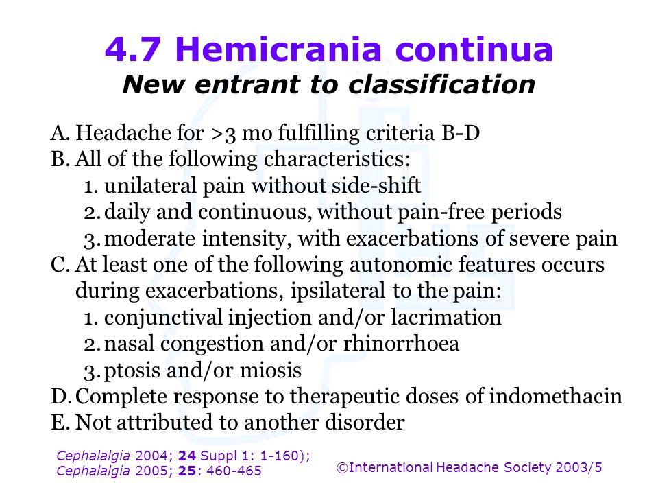 Cephalalgia 2004; 24 Suppl 1: 1-160); Cephalalgia 2005; 25: 460-465 ©International Headache Society 2003/5 4.7 Hemicrania continua New entrant to clas