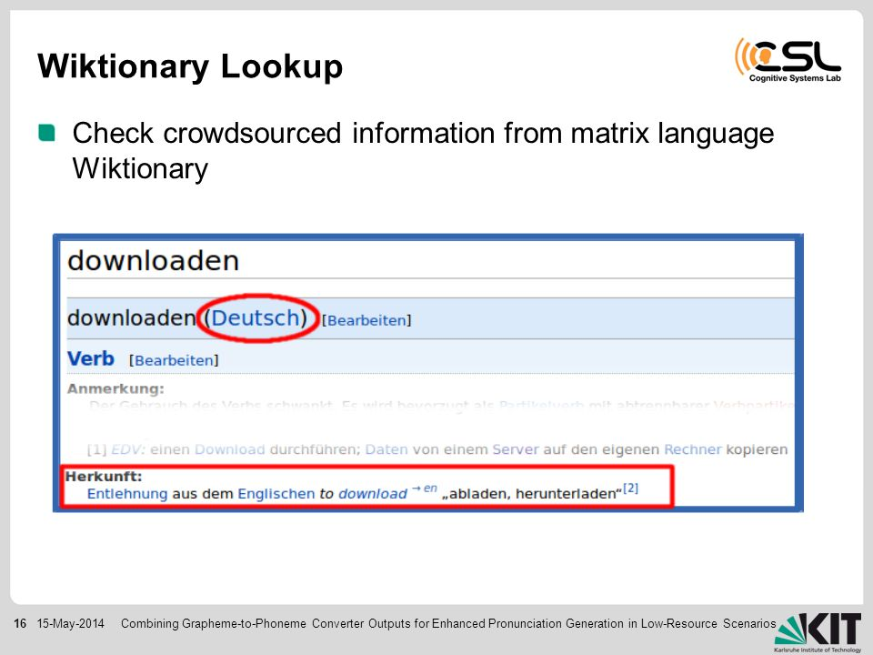 1615-May-2014 Wiktionary Lookup Check crowdsourced information from matrix language Wiktionary Combining Grapheme-to-Phoneme Converter Outputs for Enhanced Pronunciation Generation in Low-Resource Scenarios