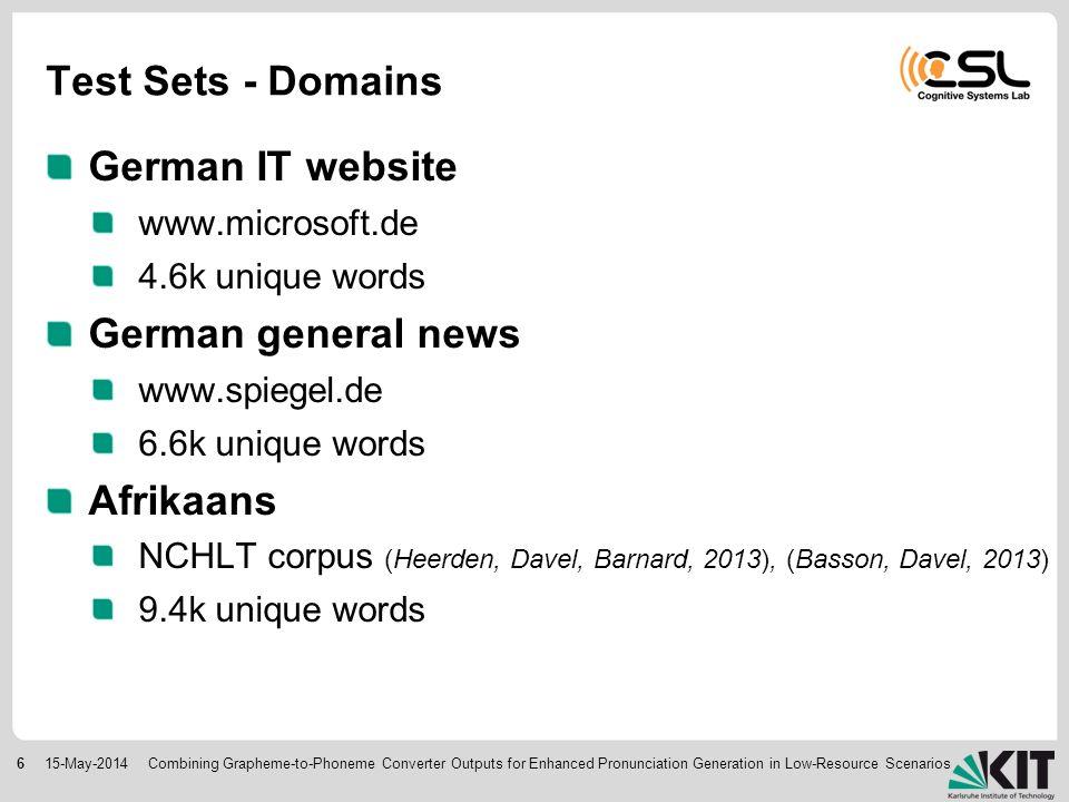 615-May-2014 Test Sets - Domains German IT website www.microsoft.de 4.6k unique words German general news www.spiegel.de 6.6k unique words Afrikaans NCHLT corpus (Heerden, Davel, Barnard, 2013), (Basson, Davel, 2013) 9.4k unique words Combining Grapheme-to-Phoneme Converter Outputs for Enhanced Pronunciation Generation in Low-Resource Scenarios