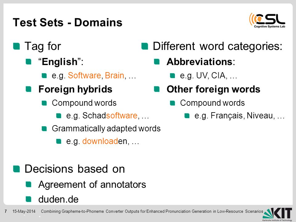 715-May-2014 Test Sets - Domains Tag for English : e.g.