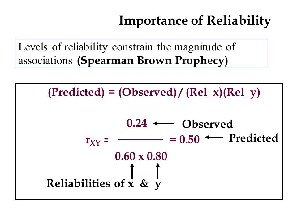 Levels of reliability constrain the magnitude of associations (Spearman Brown Prophecy) (Predicted) = (Observed) / (Rel_x)(Rel_y) 0.24 r XY = = 0.50 0.60 x 0.80 Observed Predicted Reliabilities of x & y Importance of Reliability