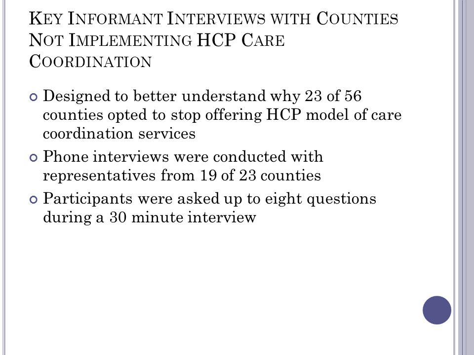 K EY I NFORMANT I NTERVIEWS WITH C OUNTIES N OT I MPLEMENTING HCP C ARE C OORDINATION Designed to better understand why 23 of 56 counties opted to stop offering HCP model of care coordination services Phone interviews were conducted with representatives from 19 of 23 counties Participants were asked up to eight questions during a 30 minute interview