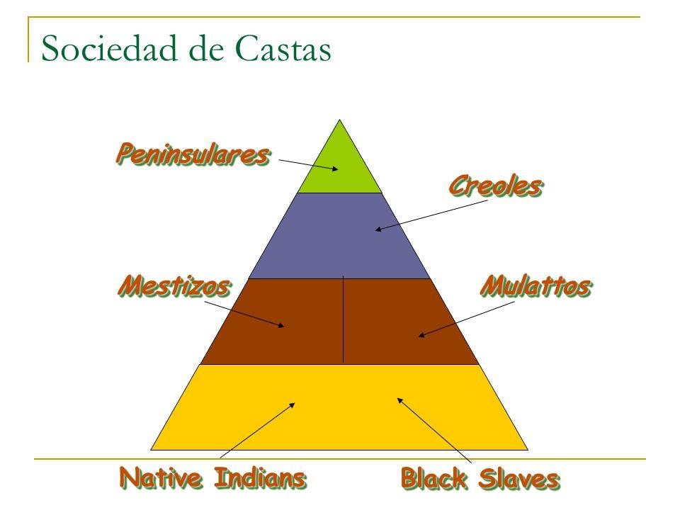 Sociedad de Castas PeninsularesPeninsulares CreolesCreoles MestizosMestizosMulattosMulattos Native Indians Black Slaves