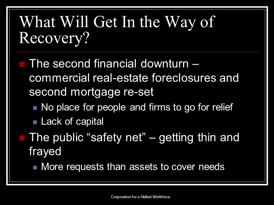 What Will Get In the Way of Recovery.