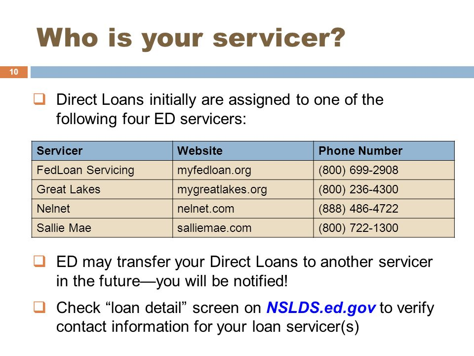 Who is your servicer.