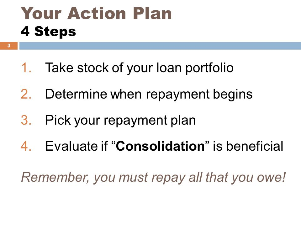 Your Action Plan 4 Steps 1.Take stock of your loan portfolio 2.Determine when repayment begins 3.Pick your repayment plan 4.Evaluate if Consolidation is beneficial Remember, you must repay all that you owe.