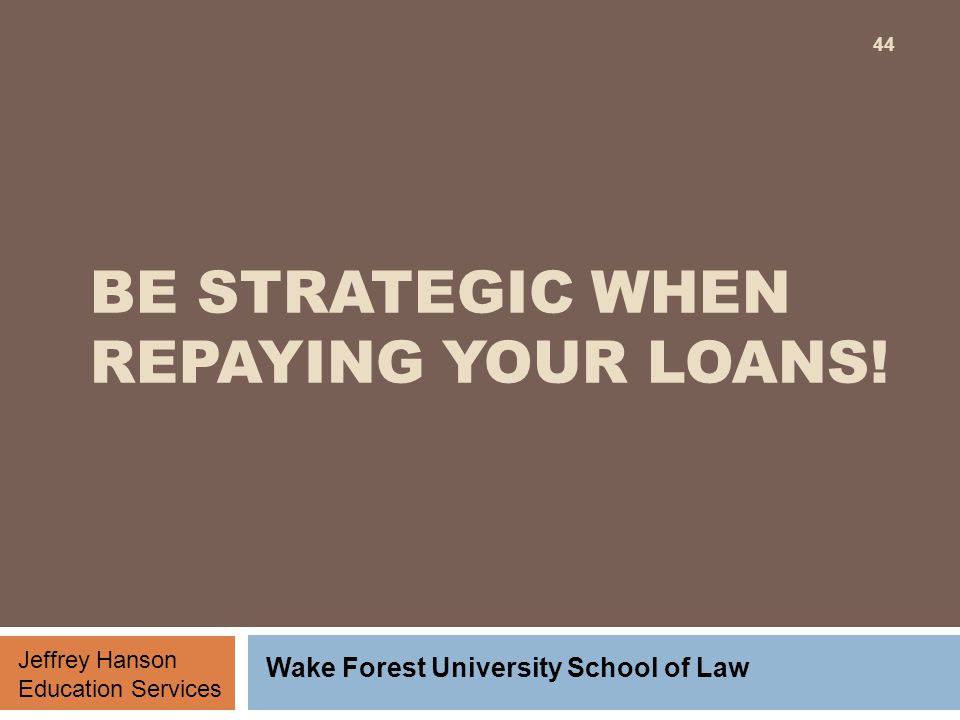 BE STRATEGIC WHEN REPAYING YOUR LOANS.