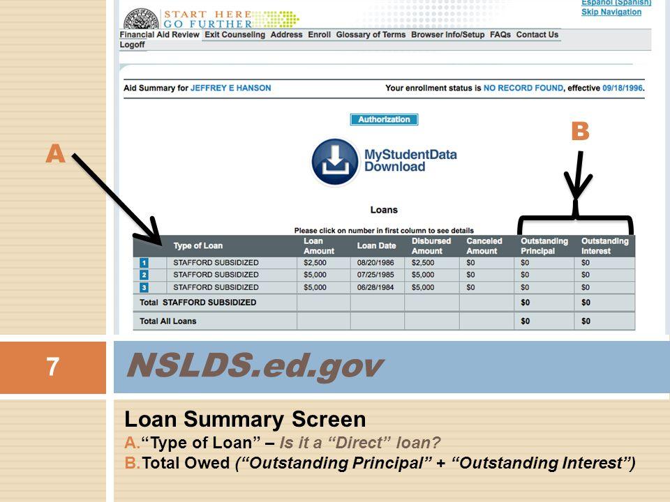 "Loan Summary Screen A.""Type of Loan"" – Is it a ""Direct"" loan? B.Total Owed (""Outstanding Principal"" + ""Outstanding Interest"") 7 NSLDS.ed.gov A B"