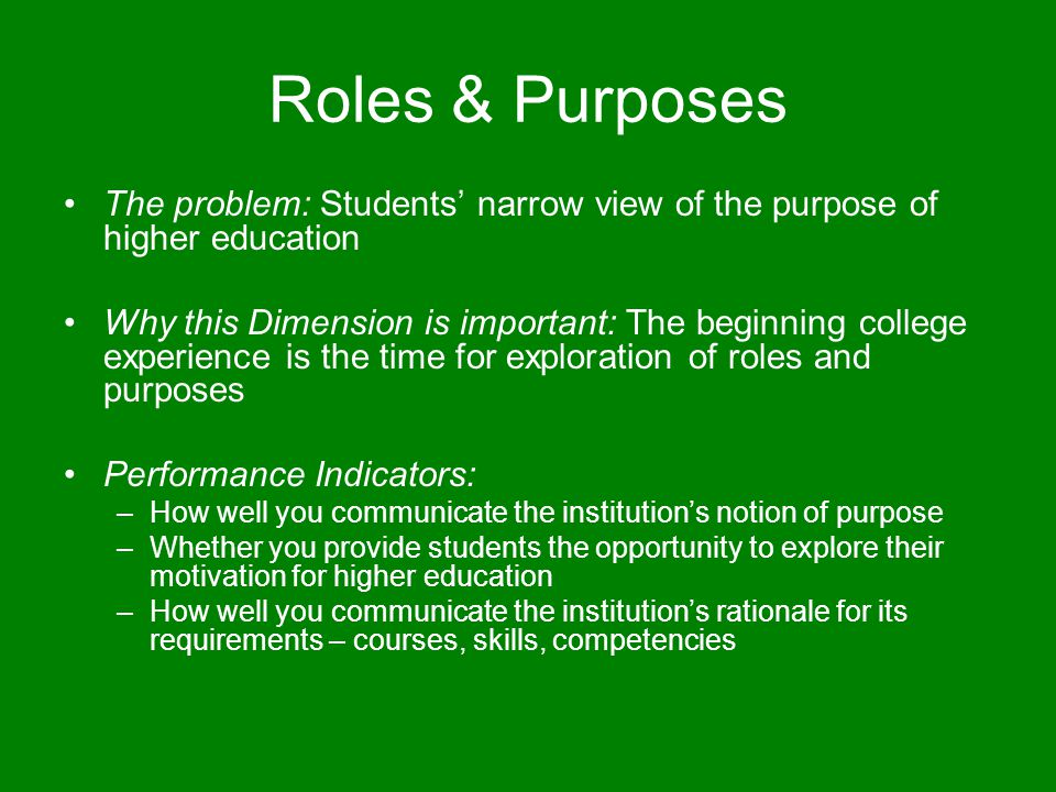 Roles & Purposes The problem: Students' narrow view of the purpose of higher education Why this Dimension is important: The beginning college experien