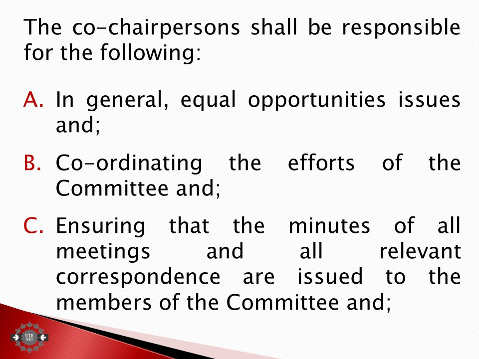 The co-chairpersons shall be responsible for the following: A.In general, equal opportunities issues and; B.Co-ordinating the efforts of the Committee and; C.Ensuring that the minutes of all meetings and all relevant correspondence are issued to the members of the Committee and;