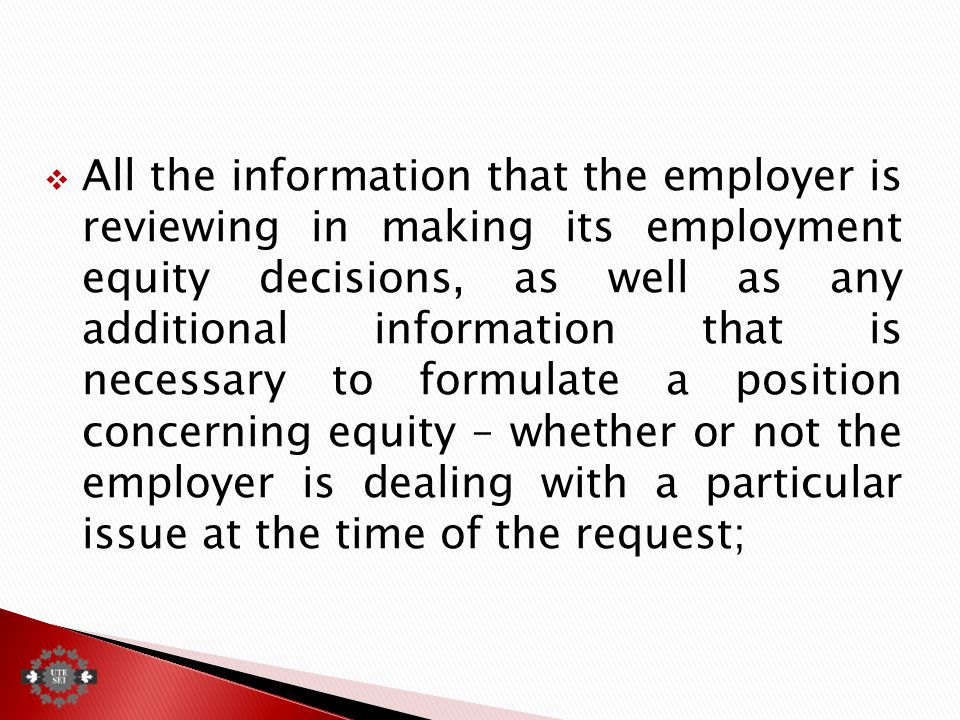  All the information that the employer is reviewing in making its employment equity decisions, as well as any additional information that is necessary to formulate a position concerning equity – whether or not the employer is dealing with a particular issue at the time of the request;
