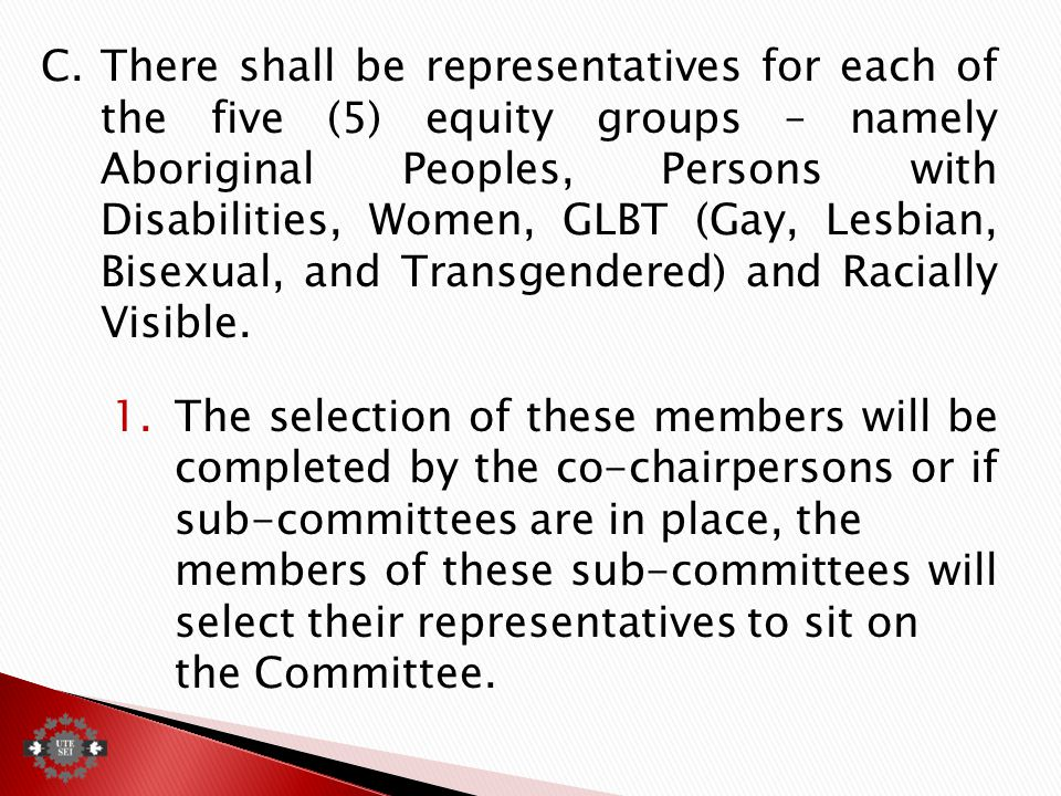 C.There shall be representatives for each of the five (5) equity groups – namely Aboriginal Peoples, Persons with Disabilities, Women, GLBT (Gay, Lesbian, Bisexual, and Transgendered) and Racially Visible.