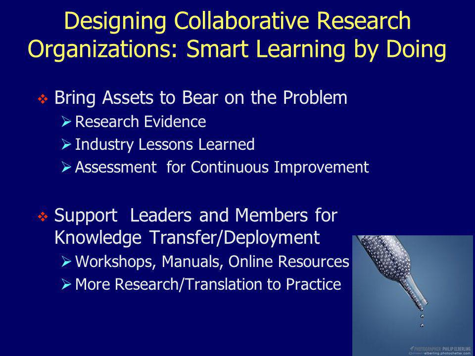 Designing Collaborative Research Organizations: Smart Learning by Doing  Bring Assets to Bear on the Problem  Research Evidence  Industry Lessons Learned  Assessment for Continuous Improvement  Support Leaders and Members for Knowledge Transfer/Deployment  Workshops, Manuals, Online Resources  More Research/Translation to Practice