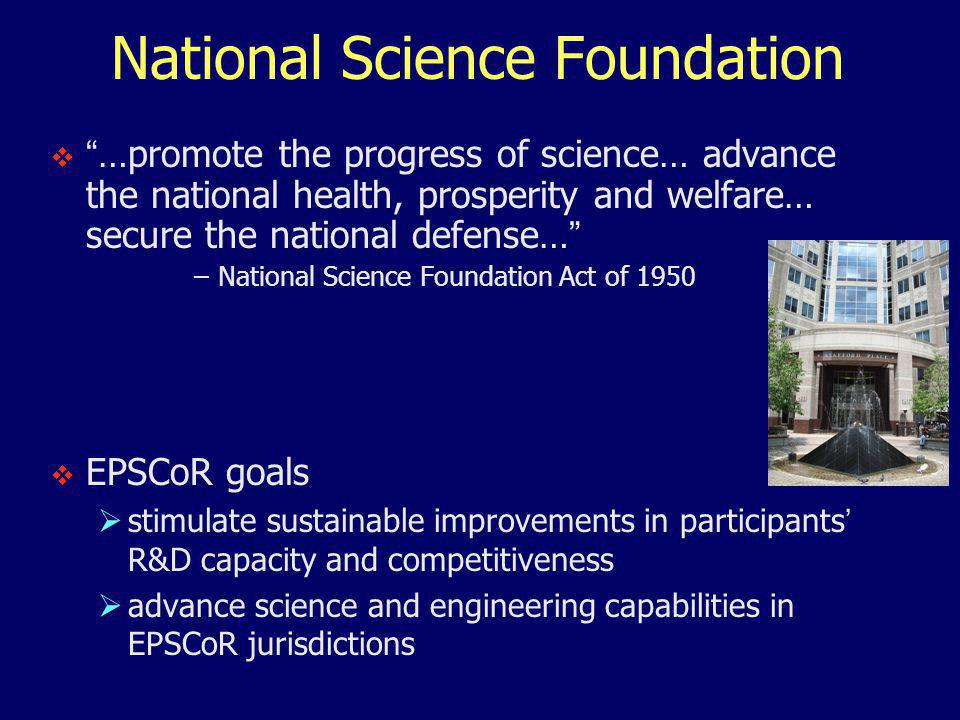 National Science Foundation  …promote the progress of science… advance the national health, prosperity and welfare… secure the national defense… –National Science Foundation Act of 1950  EPSCoR goals  stimulate sustainable improvements in participants' R&D capacity and competitiveness  advance science and engineering capabilities in EPSCoR jurisdictions
