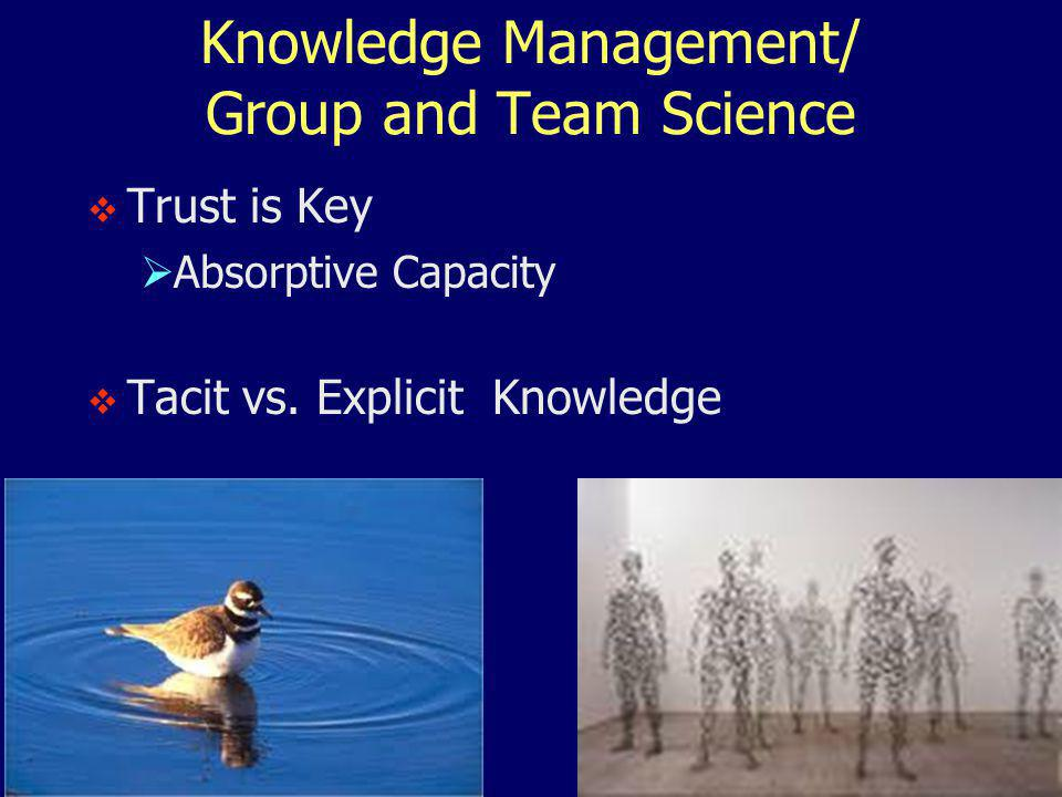 Knowledge Management/ Group and Team Science  Trust is Key  Absorptive Capacity  Tacit vs.