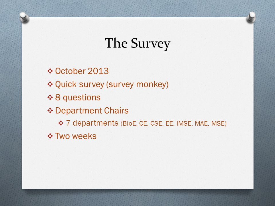 The Survey  October 2013  Quick survey (survey monkey)  8 questions  Department Chairs  7 departments (BioE, CE, CSE, EE, IMSE, MAE, MSE)  Two weeks