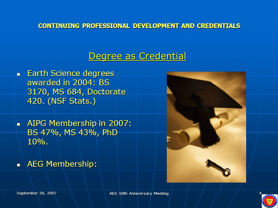 September 28, 2007 AEG 50th Anniversary Meeting 4 CONTINUING PROFESSIONAL DEVELOPMENT AND CREDENTIALS Earth Science degrees awarded in 2004: BS 3170, MS 684, Doctorate 420.