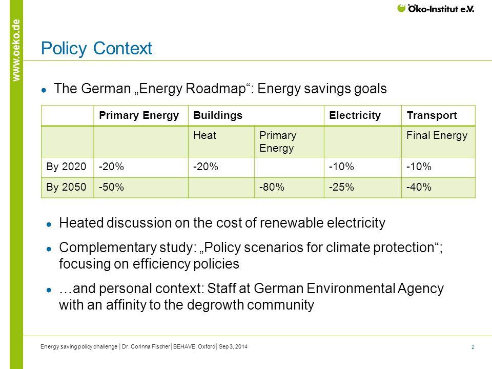 "2 www.oeko.de Policy Context ● The German ""Energy Roadmap"": Energy savings goals Energy saving policy challenge │Dr. Corinna Fischer│BEHAVE, Oxford│Se"