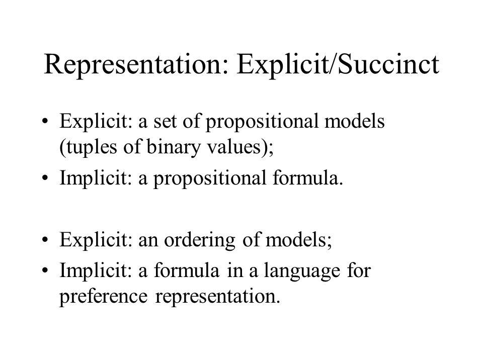 Representation: Explicit/Succinct Explicit: a set of propositional models (tuples of binary values); Implicit: a propositional formula.