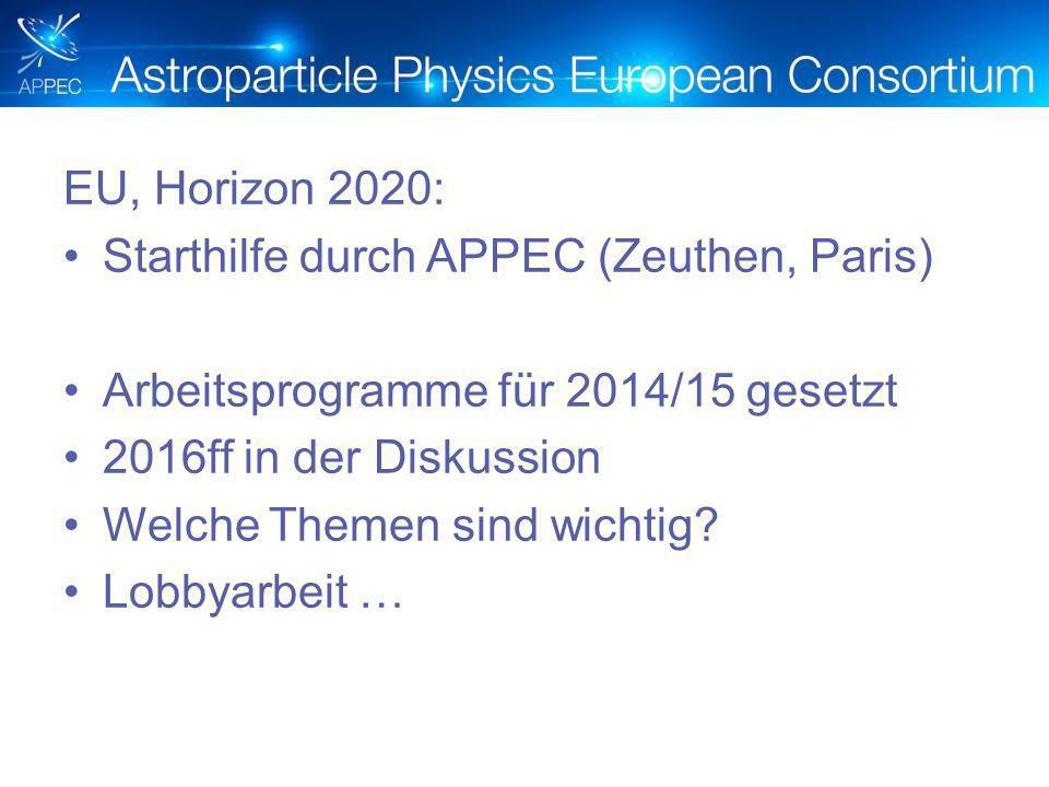 EU, Horizon 2020: Starthilfe durch APPEC (Zeuthen, Paris) Arbeitsprogramme für 2014/15 gesetzt 2016ff in der Diskussion Welche Themen sind wichtig.