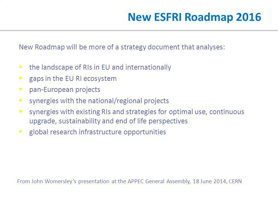 New ESFRI Roadmap 2016 New Roadmap will be more of a strategy document that analyses:  the landscape of RIs in EU and internationally  gaps in the E