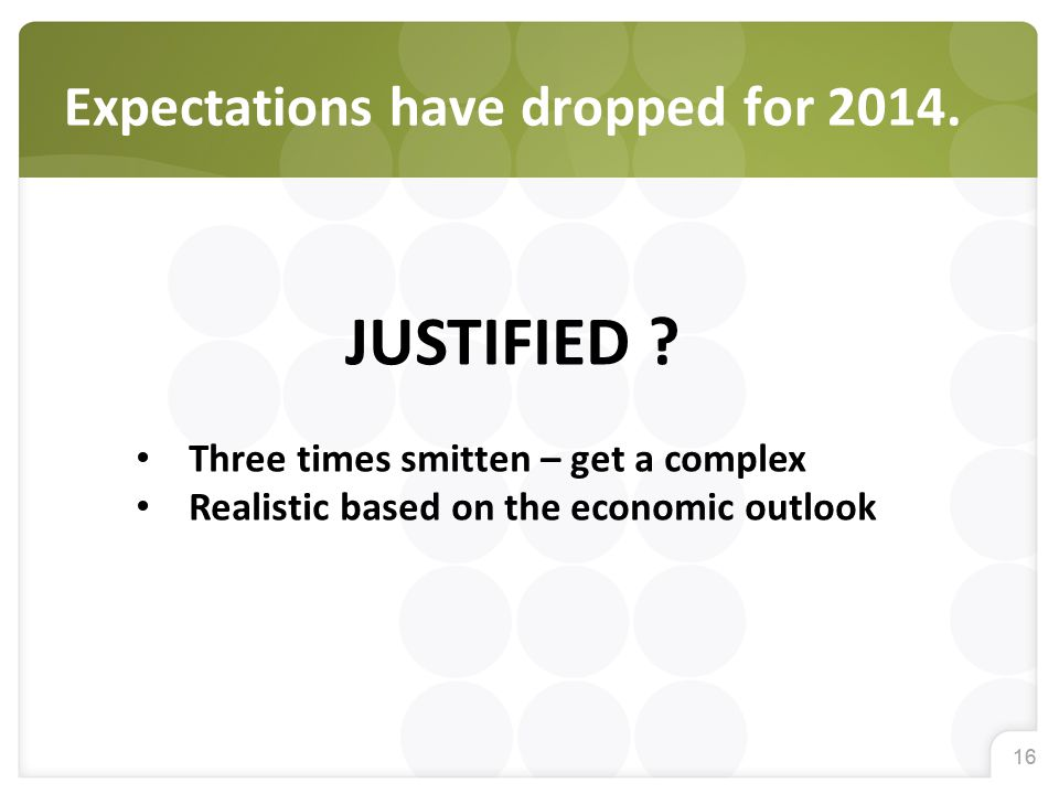 16 Expectations have dropped for 2014. JUSTIFIED ? Three times smitten – get a complex Realistic based on the economic outlook