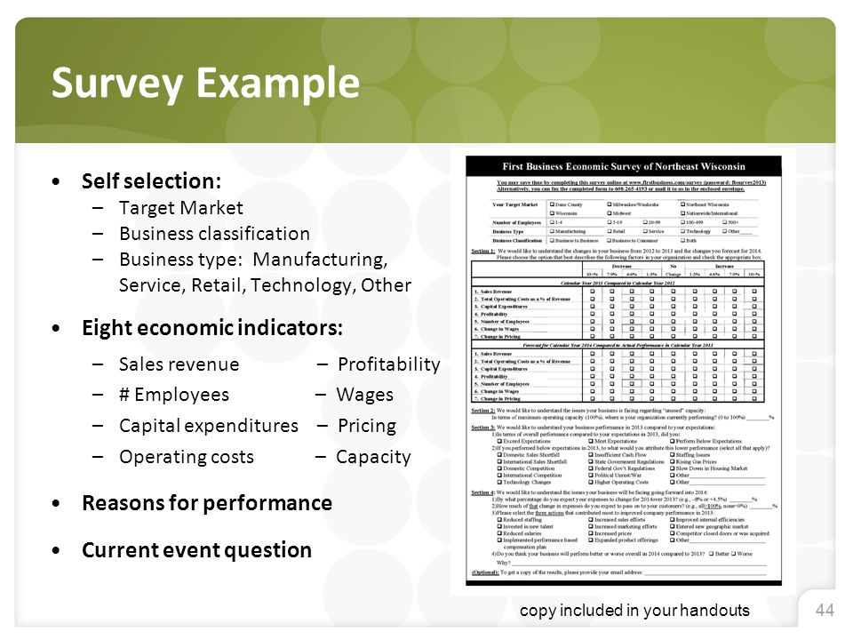 44 Survey Example Self selection: –Target Market –Business classification –Business type: Manufacturing, Service, Retail, Technology, Other Eight econ