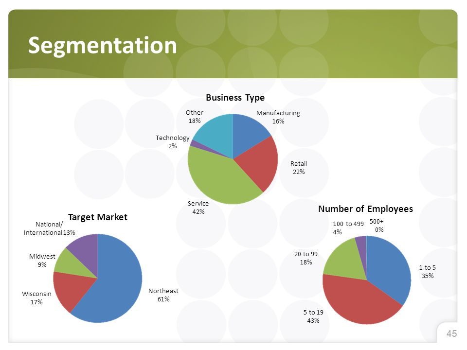 45 Segmentation Business Type Number of Employees Target Market National/ International 13% Midwest 9% Wisconsin 17% Northeast 61% Other 18% Technology 2% Service 42% Retail 22% Manufacturing 16% 20 to 99 18% 5 to 19 43% 1 to 5 35% 500+ 0% 100 to 499 4%